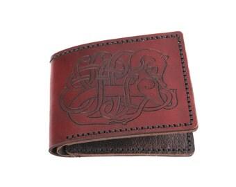 rune leather wallet, viking wallet, thin bifold wallet, brown bifold wallet, monogram wallet, minimalist wallet, elder futhark rune, slim