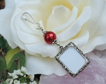 Winter Wedding bouquet photo charm. Memorial photo charm with red pearl. Bridal bouquet charm. Gift for her.  Small picture frame charm.