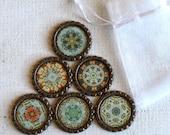 Kaleidoscope Magnets- Mandala Fridge Magnets- Refrigerator Magnets, Fridge Magnet,  Brown, Teal, Orange Magnets, Set of 6 with Gift Bag