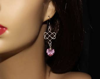Celtic Knots and Crystal Hearts Dangle Earrings. Traditional Celtic Knot Earrings with Pink Swarovski Heart Crystals. All Occasion Earrings.