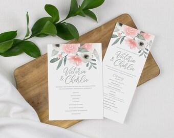 pink floral wedding programs, blush wedding, floral ceremony program, day of wedding stationery, printed wedding programs