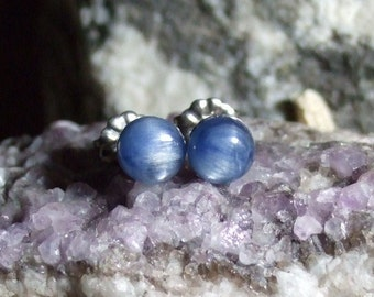 6mm Blue Kyanite Titanium Studs Earrings Earings Hypo Allergenic Made in Newfoundland Throat Chakra