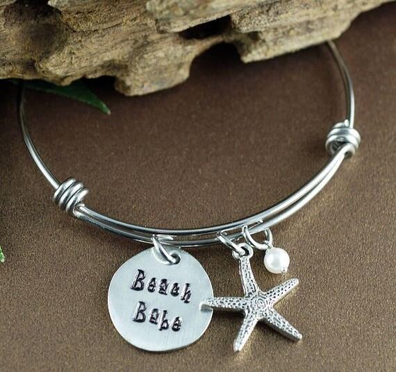 Beach Babe Jewelry, Starfish Jewelry, Hand Stamped Bracelet, Long Beach Island Jewelry, Personalized Bangle Bracelet, Flip Flop Jewelry