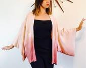 Vintage silk kimono, short kimono, Blush pink Kimono, Haori jacket, short kimono jacket, Japanese Robe, Textured ombre silk, Womens Kimono