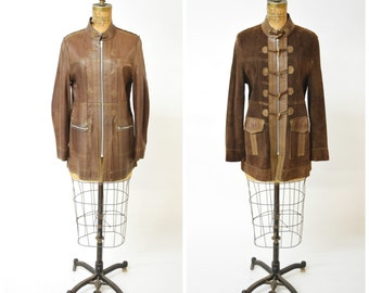 60s Brown Suede / Leather Reversible Zipper Toggle Jacket w Top Stitching // Trendy Chic Fall Fashion