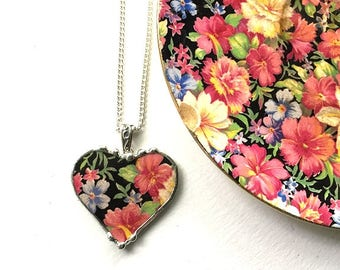 Broken china jewelry heart pendant necklace antique Royal Winton Florence chintz - with backstamp on reverse side!
