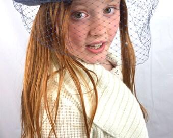 Vintage Navy Blue Brim Birdcage Veil Hat Fascinator - Designed by Sylvia