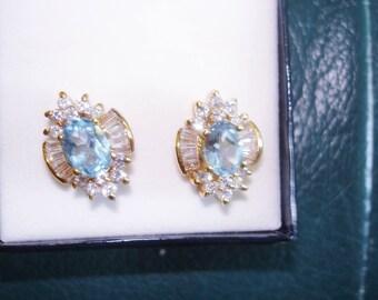 Genuine Blue Cluster Stud  14K Gold Plate Earrings Pierced