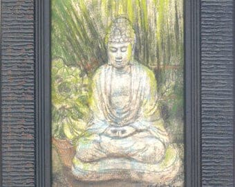 Buddha Painting meditation spiritual art Zen Buddhist framed original artwork by Sue Halstenberg