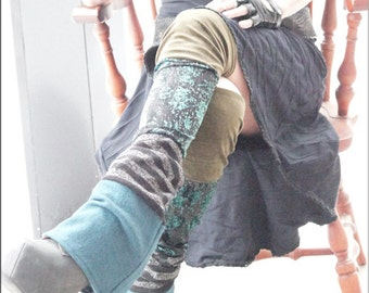 Thigh High Leg Warmers - Steampunk - Clothing Accessory - Long Sexy - Knee High - Patchwork - Burning Man - One Size