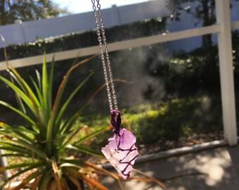 Amethyst Necklace Silver, Purple Crystal Necklace, Macrame Crystal Necklace, Long Chain Necklace, Wrapped Crystal Necklace, Macrame Pendant