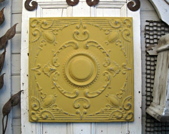 Framed Tin Ceiling Tile.  Antique architecture salvage. Gold Mustard Yellow Pressed Tin Tile.
