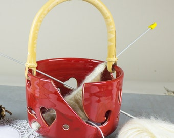 IN STOCK ceramic Yarn Bowl Large Red Heart Pottery knitting Bowl & handle Wheel thrown crochet bowl gift for mom grandma blueroompottery
