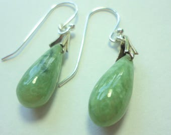 Jade Teardrop Earrings Natural Green Jadeite Translucent Genuine Green Jade Teardrop Earrings with Sterling Bails and Ear Wires
