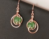 Emerald Green Jade Rose Gold Small Drop Earrings, Greenery Green Jade Asymmetrical Rose Gold Wire Wrapped Green Earrings
