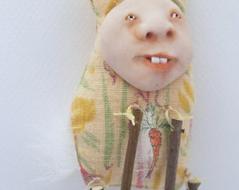 Folk Art Doll Ornament cloth clay hand stitching spring rabbit easter bunny #1