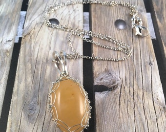 Yellow Aventurine Pendant 1.5 Inches Long .75 Inches Wide Wrapped in Silver Wire on Handmade 18.5 Inch Silver Chain, One of a Kind