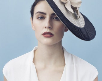 The Aage Summer Races Hat, Black and Nude Straw Coolie, Ladies Day Millinery