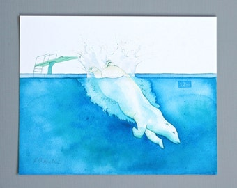 Polar Bear Dive - Print of Original Watercolor Illustration