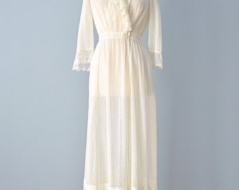 Vintage Edwardian Lawn Dress...Darling Semi Sheer Cotton Edwardian Dress