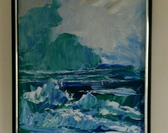 Abstract Painting Oil Seascape 1978