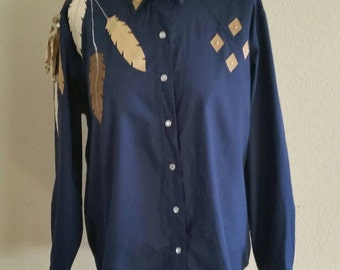 1970's South Western Blouse with Feather details, size 42/44 Bust, Large,  #63187