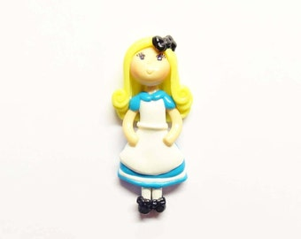 Cold Porcelain Alice Figurine, Alice Ornament,  Alice Pendant, Clay Bow Center, Alice Purse Charm, Brooch, Magnet, Gift, Wonderland Necklace