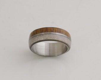 antler ring titanium ring with Red Camaru wood  deer antler band mens wedding band wood ring man wood ring