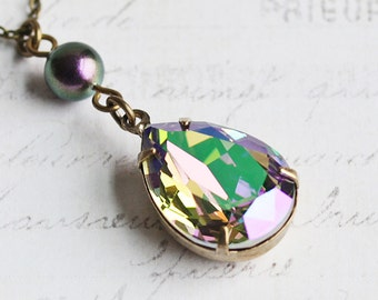 Iridescent Purple Crystal Rhinestone Drop Necklace on Antiqued Brass Chain (made with Swarovski Elements)