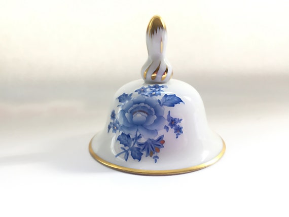 Hand Painted Porcelain Bell Blue & White China Dinner Bell