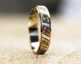 Vintage Multi Gold Wedding Band Ring Rose Yellow White Engraved Ladies 9ct 9k FREE SHIPPING Size M.5 / 6.5