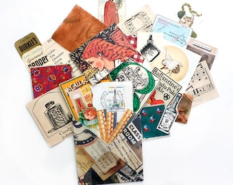 Paper Ephemera Pack, 30 Small Pieces in Handmade Envelope