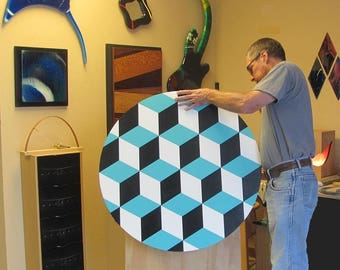 "LARGE Kinetic Art ""3D Cubes""  Spin it by Hand"