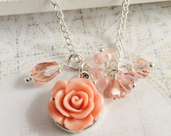 Peach flower girl necklace, little girl necklaces, coral rose jewelry, wedding jewelry, flower jewelry, granddaughter gift