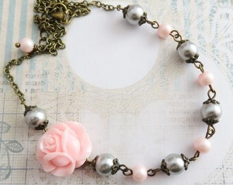 Pink with Grey Flower Girl Necklaces, Little Girl Pearl Necklace, Pink Flower Necklace, Rustic Wedding Jewelry, Pink Rose Jewelry