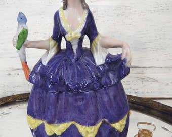 Vintage Lady in Purple Holding Bird Vanity Powder Jar, Made in Germany, Trinket, Jewelry, Keepsake Dish, Porcelain