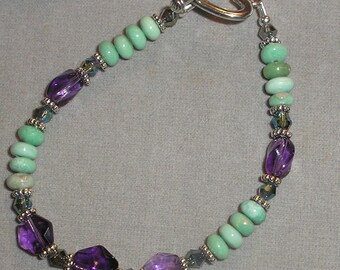 Amethyst & Crysocolla Gemstone Bracelet