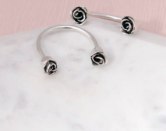 Sterling Silver Rose Ring, Flower Ring, Dainty Roses, Delicate Flower Ring, Double Ring, Floating Ring, Recycled Silver