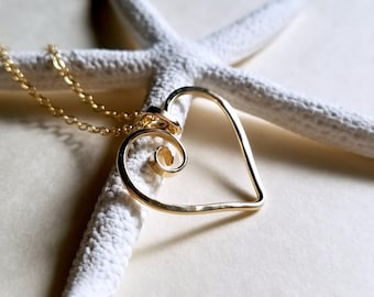 Hammered Heart Necklace, Heart Ring Holder Necklace, Spiral Heart Pendant: Ready to Ship