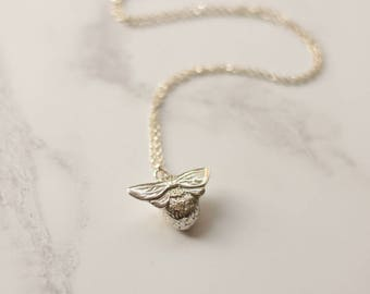 Silver Bee necklace, Bee necklace, Bumblebee necklace, nature jewellery, sterling silver