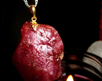 The philosophers stone of High Alchemy - LARGE Translucent Blood Red Ruby Pendant - 18K Gold Over Silver - Love, Passion, Fire Magic,