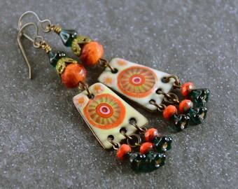 Summer Days Enameled Copper Charms Vintaj Patina Czech Beads Earrings