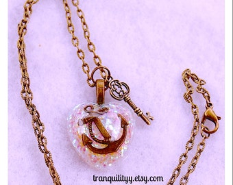 Anchor Heart Necklace, Diamond Glitter  Puffy Heart Glitter Nautical Anchor Resin Necklace Handmade By: Tranquilityy