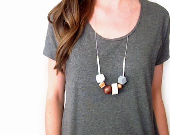 Leather and Wood Bead Necklace   Wood Bead Necklace   Long Modern Necklace   Contemporary Jewelry   Geometric Boho Beaded Natural   Upcycled