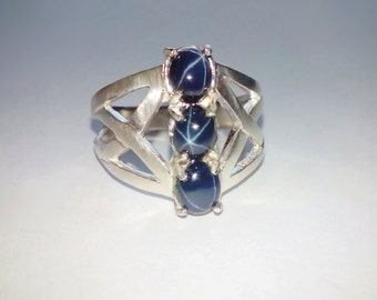 Three Natural Blue Star Sapphires In Sterling Silver Ring 1.95ct. Size 7