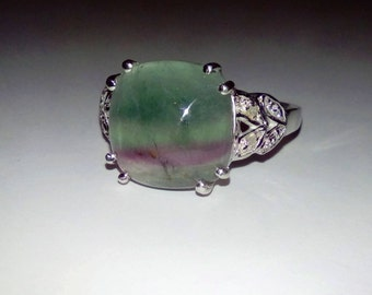 Natural Rainbow Fluorite, White Topazes In Sterling Silver Cocktail Ring, 7.30ct. Size 8.