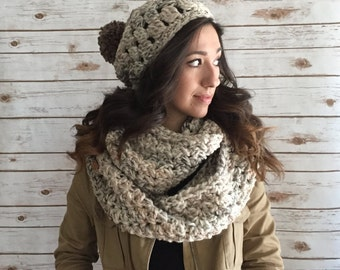 Sandstone Blend Chunky Oversized Infinity Scarf & Pom Pom Hat Set,  Extra Wide Infinity Scarf, Gift Set, Winter Accessories