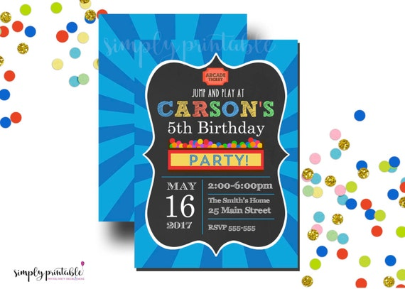 Arcade Invitation, Bounce House Invite, Jump Birthday Invitation
