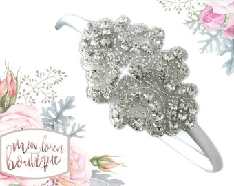 Flower Girl Headband or Clip, Rhinestone Headband or Clip, Made in the USA