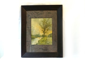 Antique 19th century oak framed print Figure with two horses on a Riverbank path by Frank F English